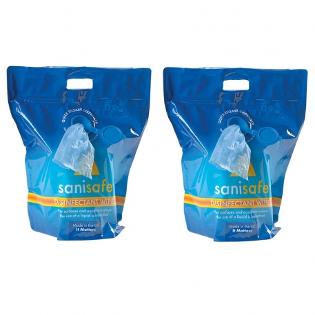 Pack of 2 Anti-bacterial wipes in pouch with dispenser